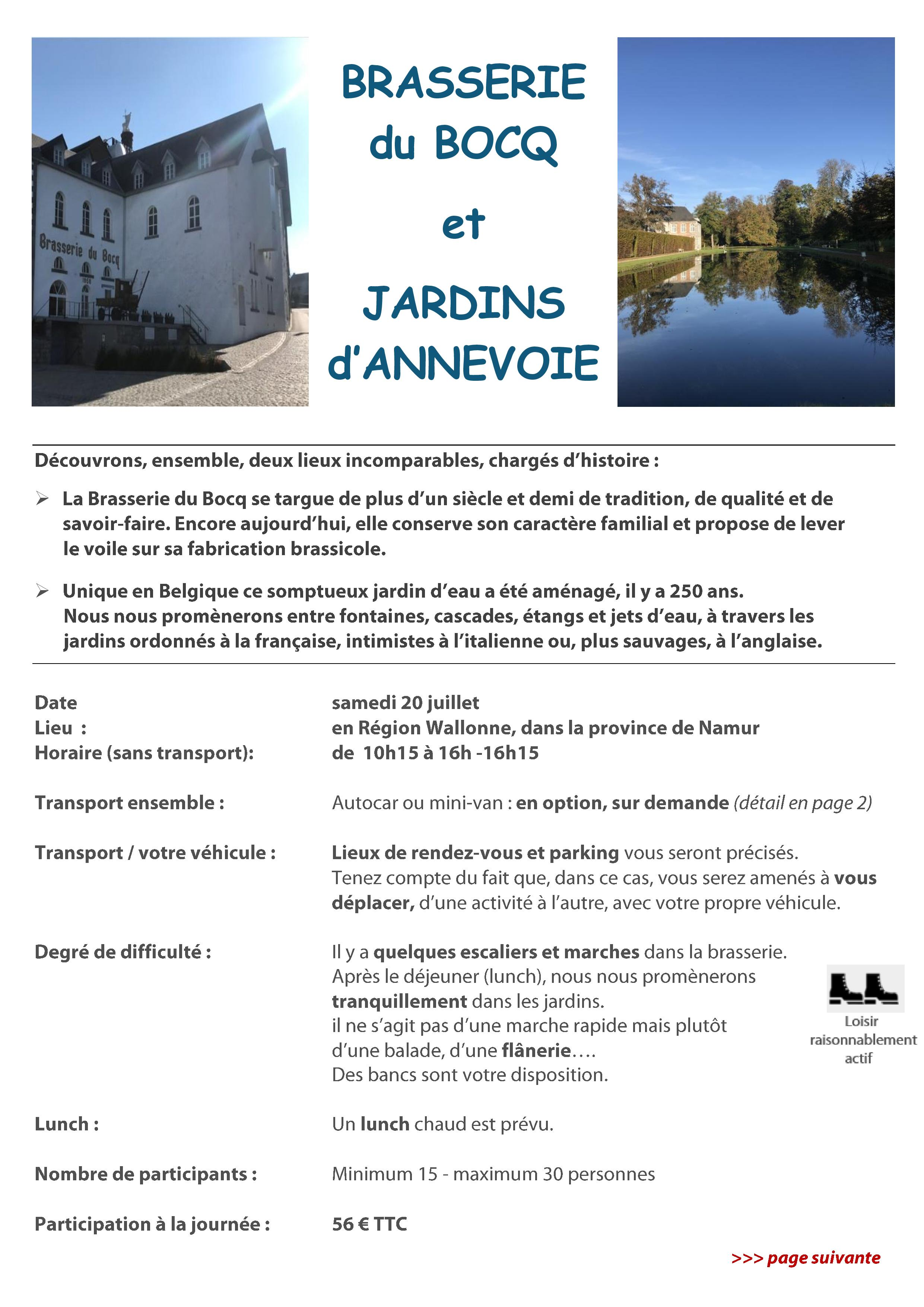 Brasserie du Bocq et Jardins d'Annevoie